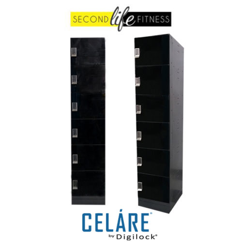 6 Tier Glass Black Locker